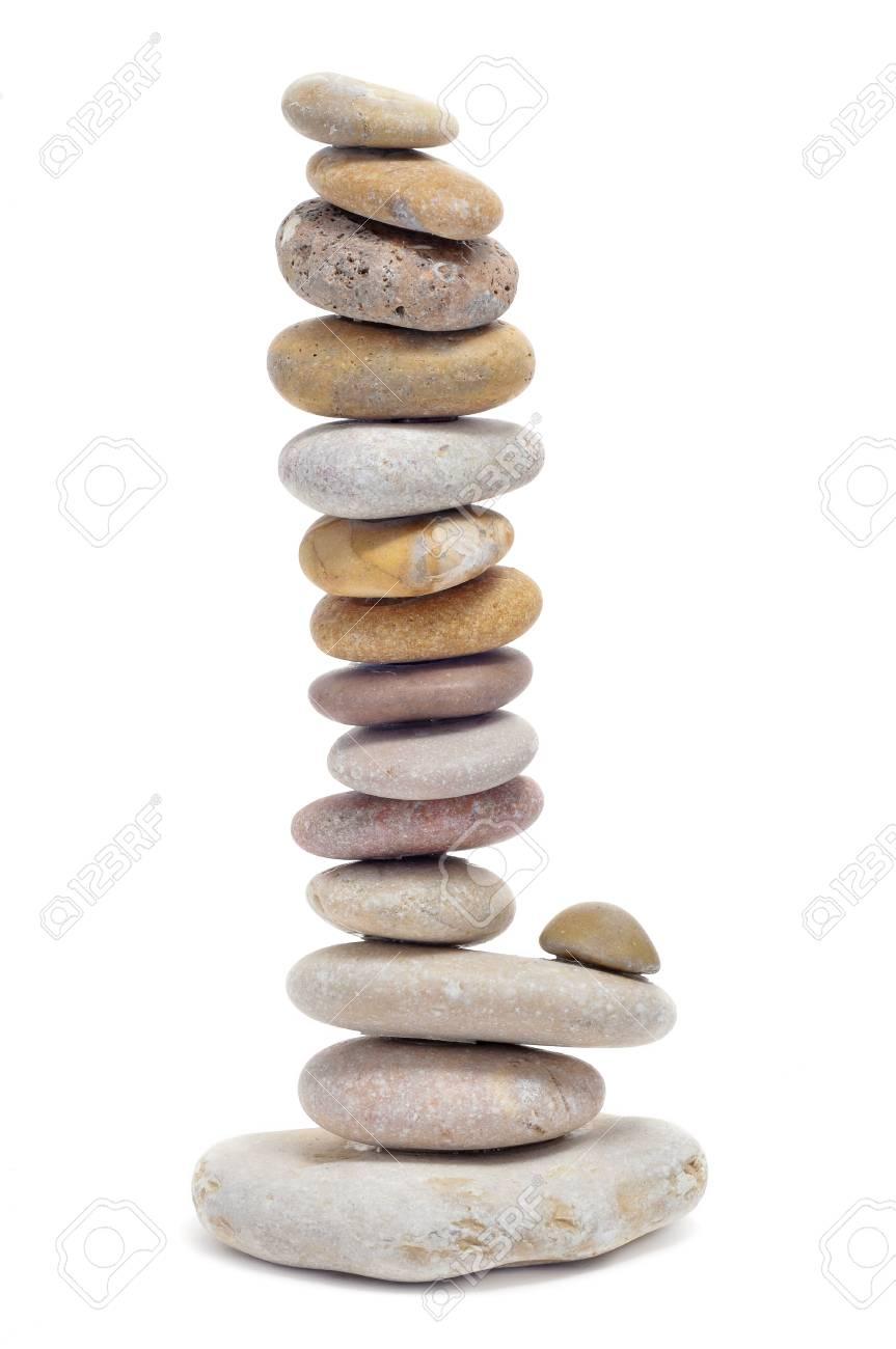a pile of zen stones on a white background Stock Photo - 9307332