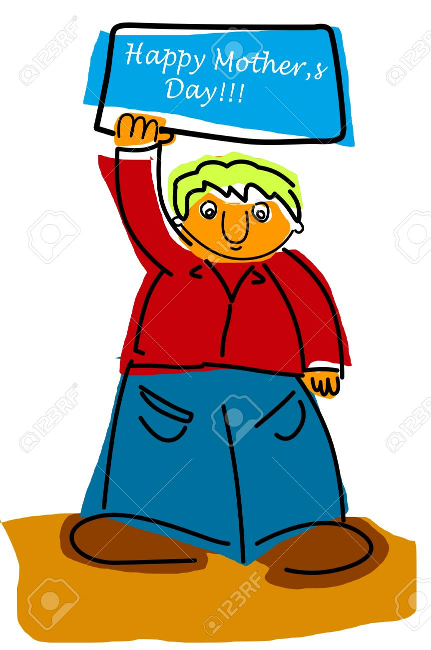 illustration of a kid holding a label with the text happy mothers day written on it Stock Illustration - 9440847