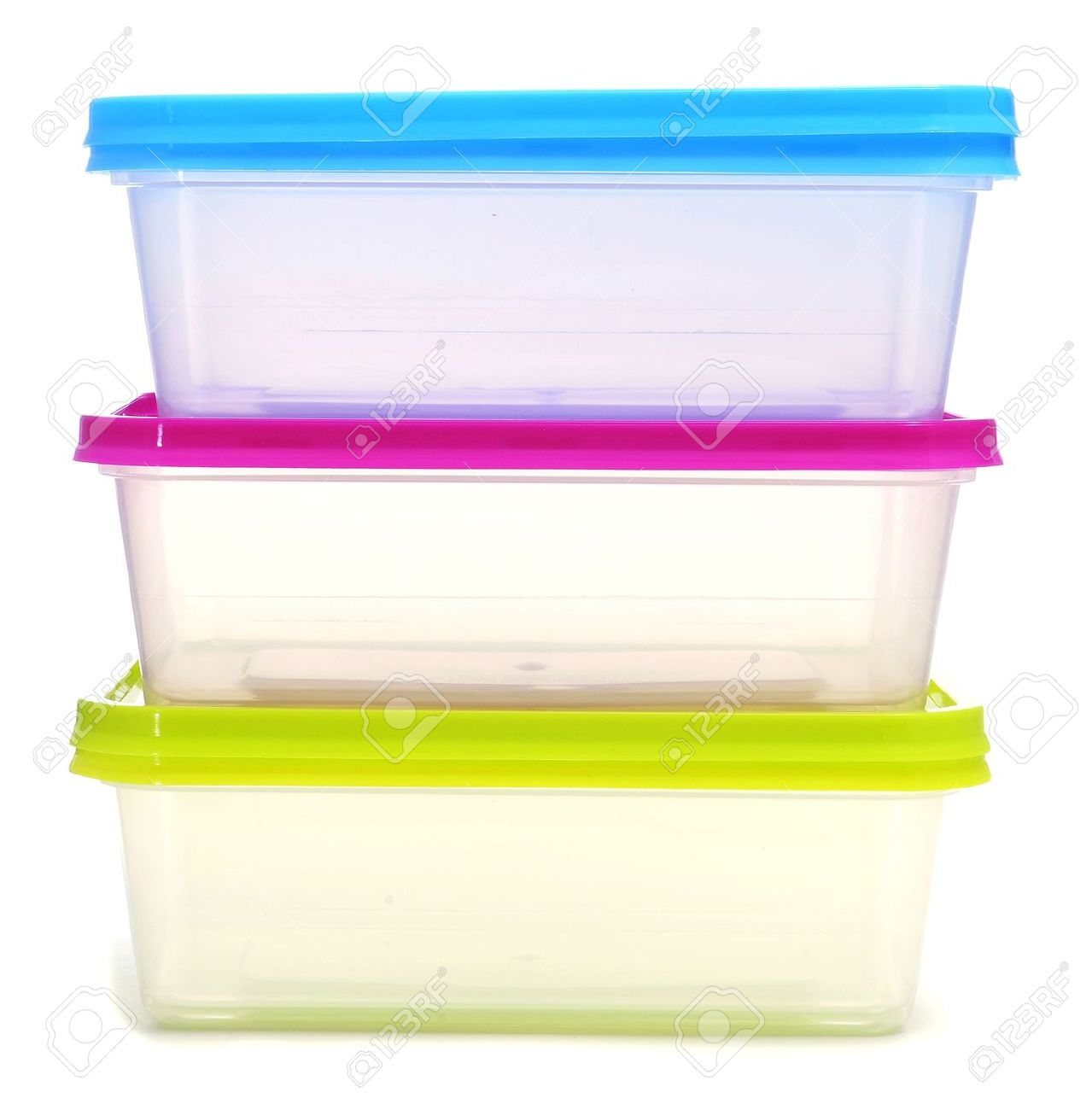 5028c0fa860 a pile of plastic containers on a white background Stock Photo - 9482192