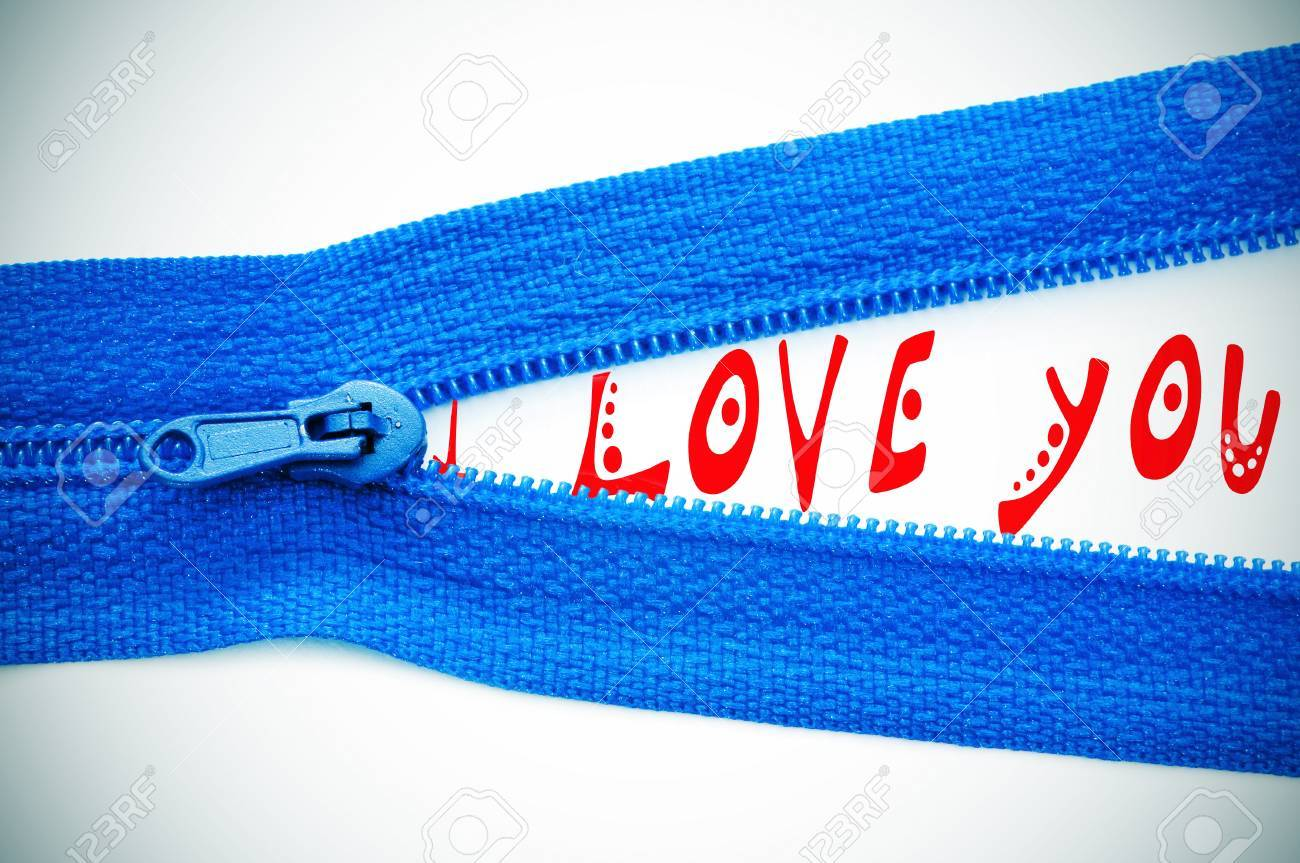 I love you written in the space of an opened zipper Stock Photo - 9594164