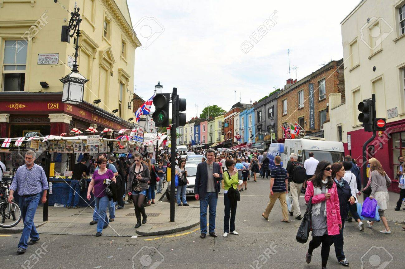 London, United Kingdom - May 7, 2011: Portobello Road Market in London, UK. It is a popular visitor attraction in London with a market area about 940 metres long. Stock Photo - 9577087