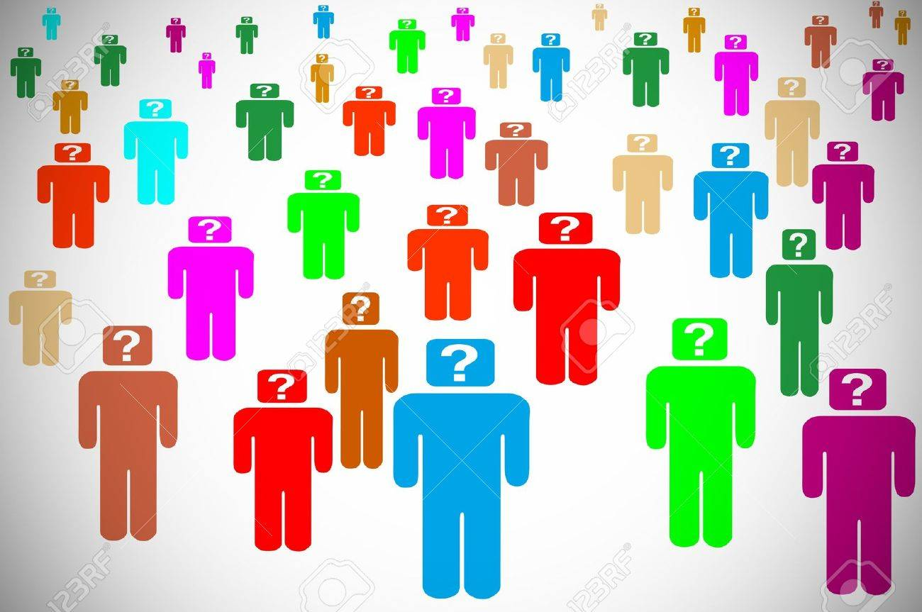 silhouettes of persons with a question mark symbolizing the concept doubt or ask oneself Stock Photo - 10072391