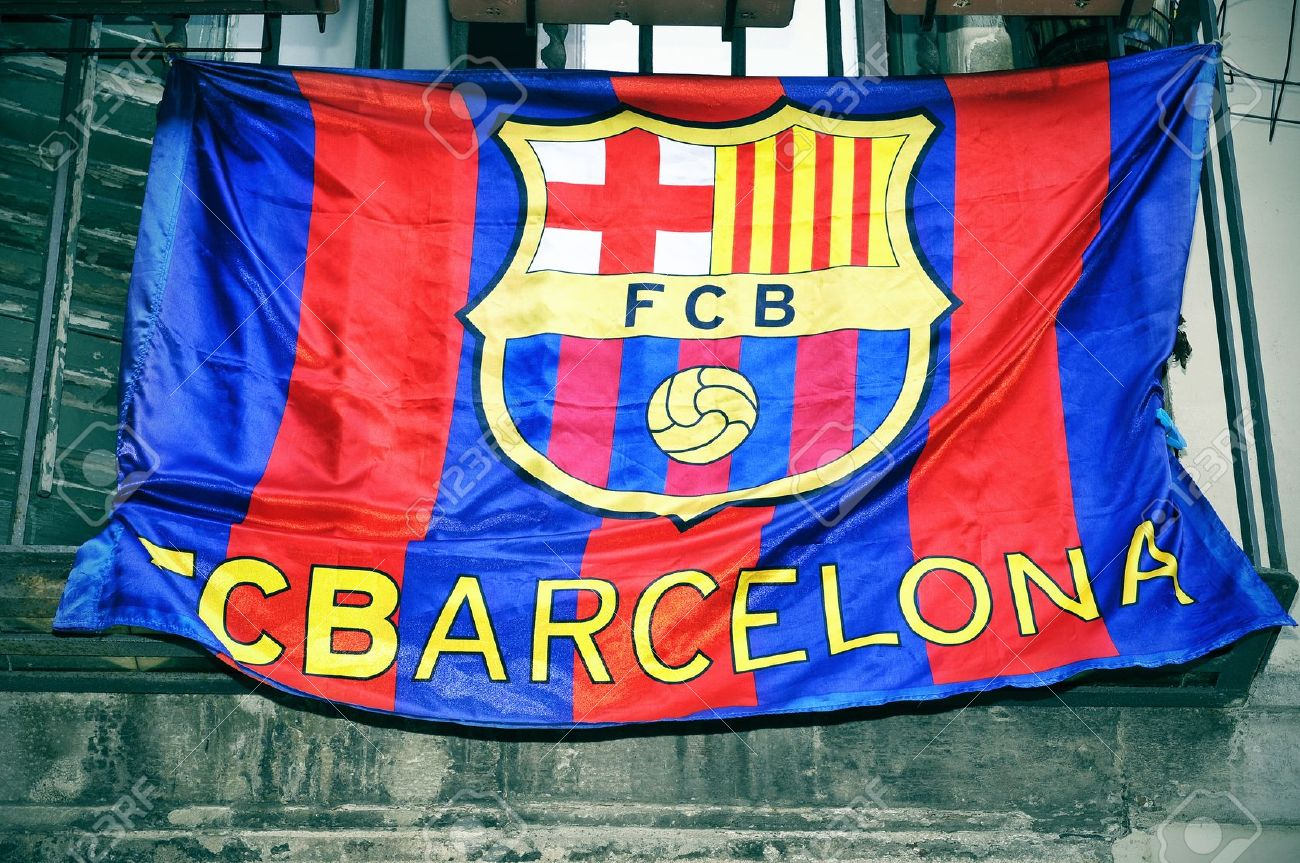 a fc barcelona flag hanging on a balcony stock photo picture and royalty free image image 22410025 a fc barcelona flag hanging on a balcony