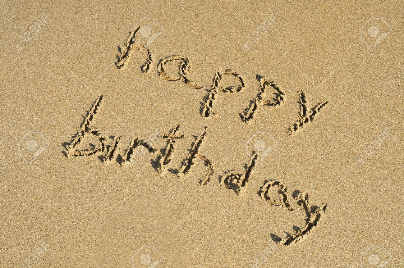 Happy birthday written on the sand of a beach stock photo picture happy birthday written on the sand of a beach stock photo 11231861 buycottarizona Gallery