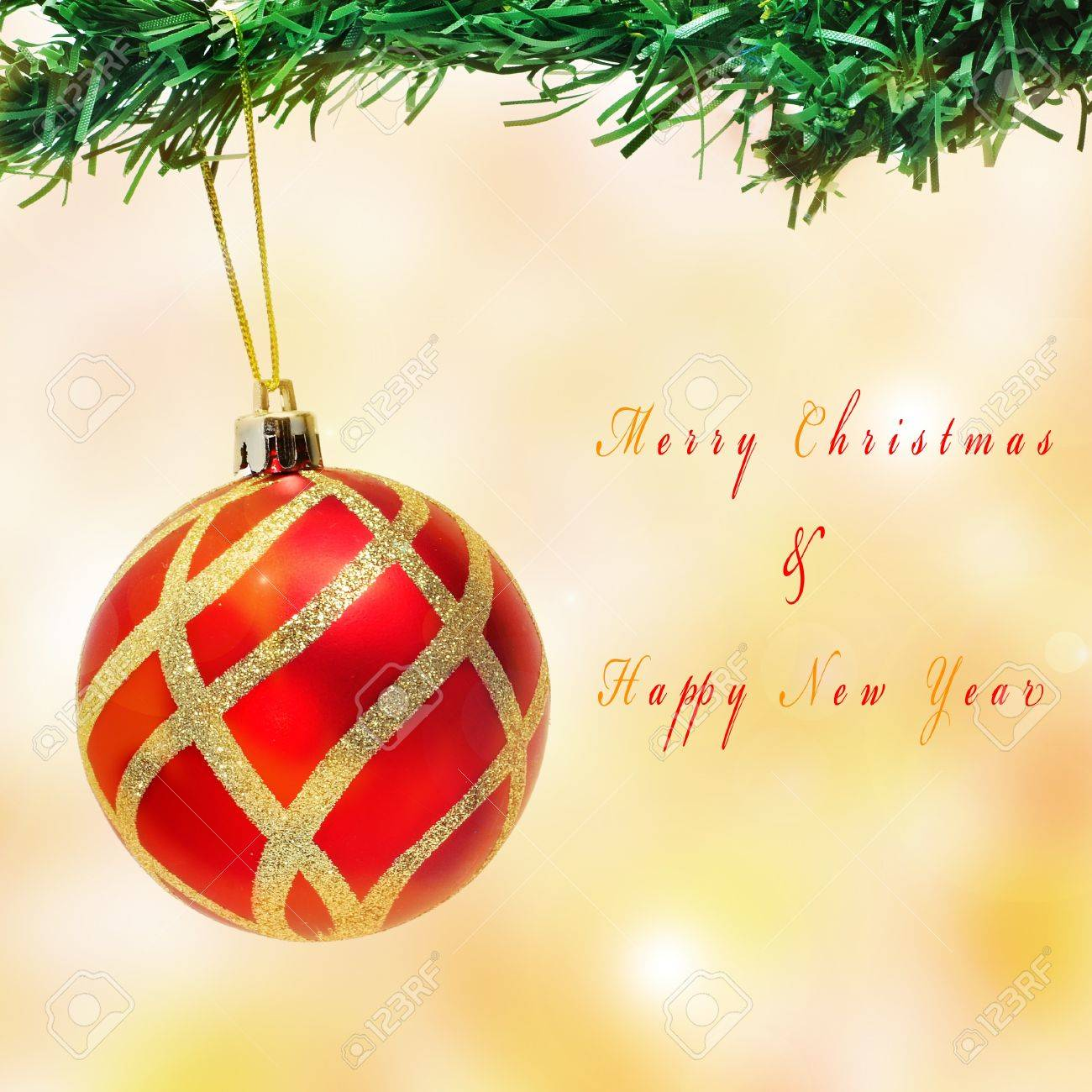 a christmas ball hanging on a christmas tree and sentence Merry Christmas and Happy New Year Stock Photo - 11231854