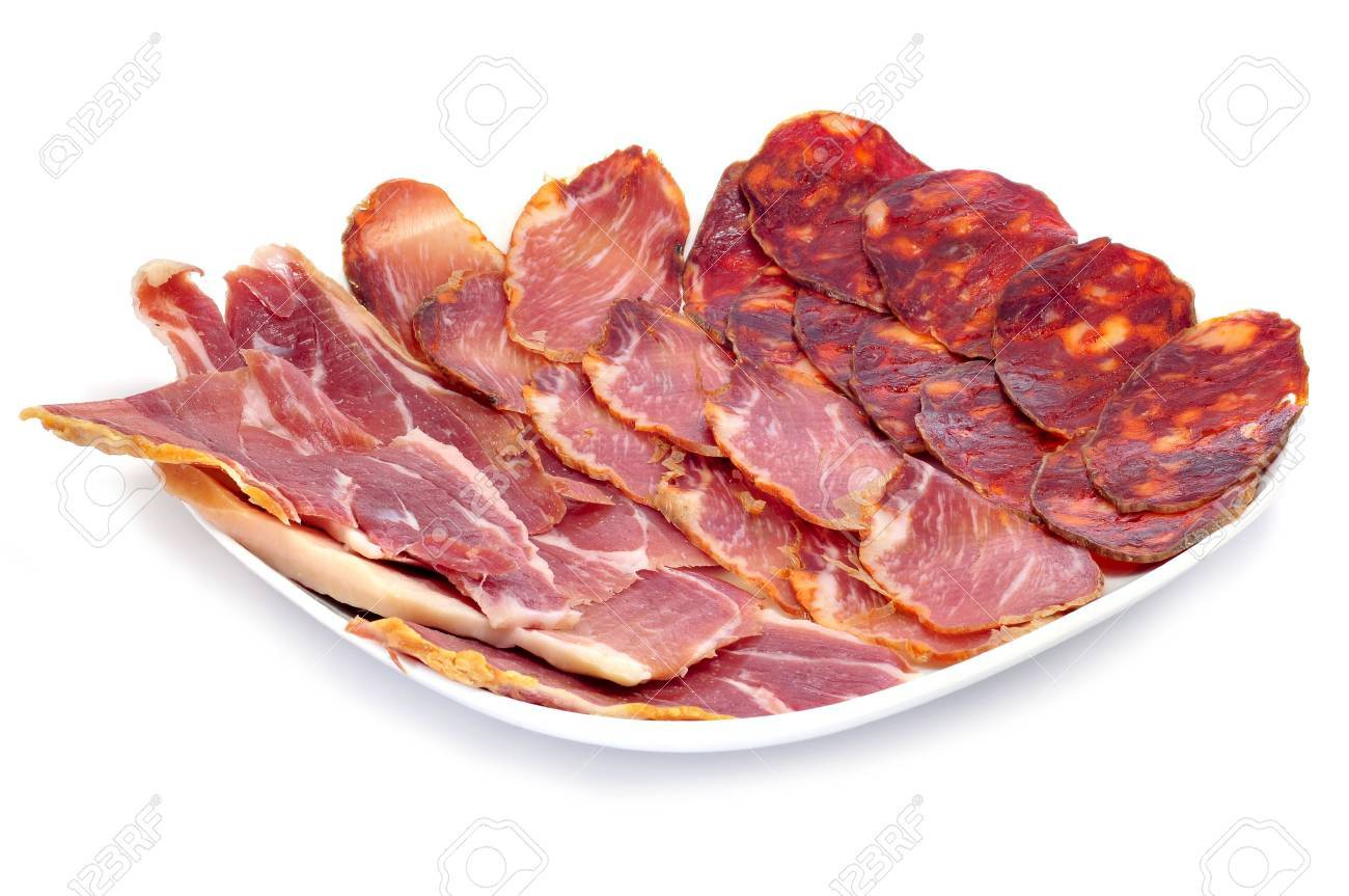 ESPACIO NAVIDEÑO // COMEDOR 11545575-a-pile-of-different-spanish-embutido-jamon-chorizo-and-lomo-embuchado-Stock-Photo