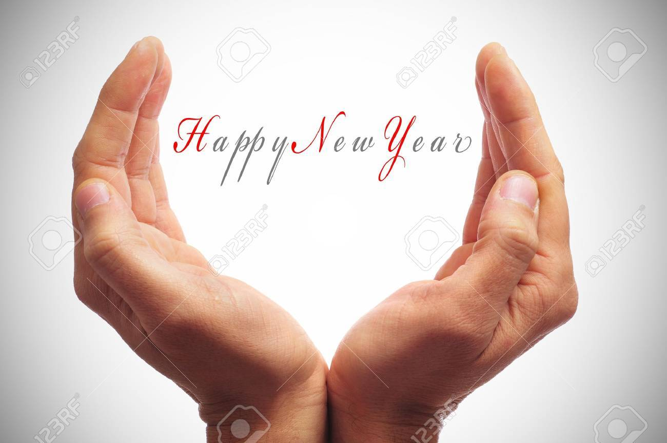 happy new year with hands forming a cup Stock Photo - 11549732