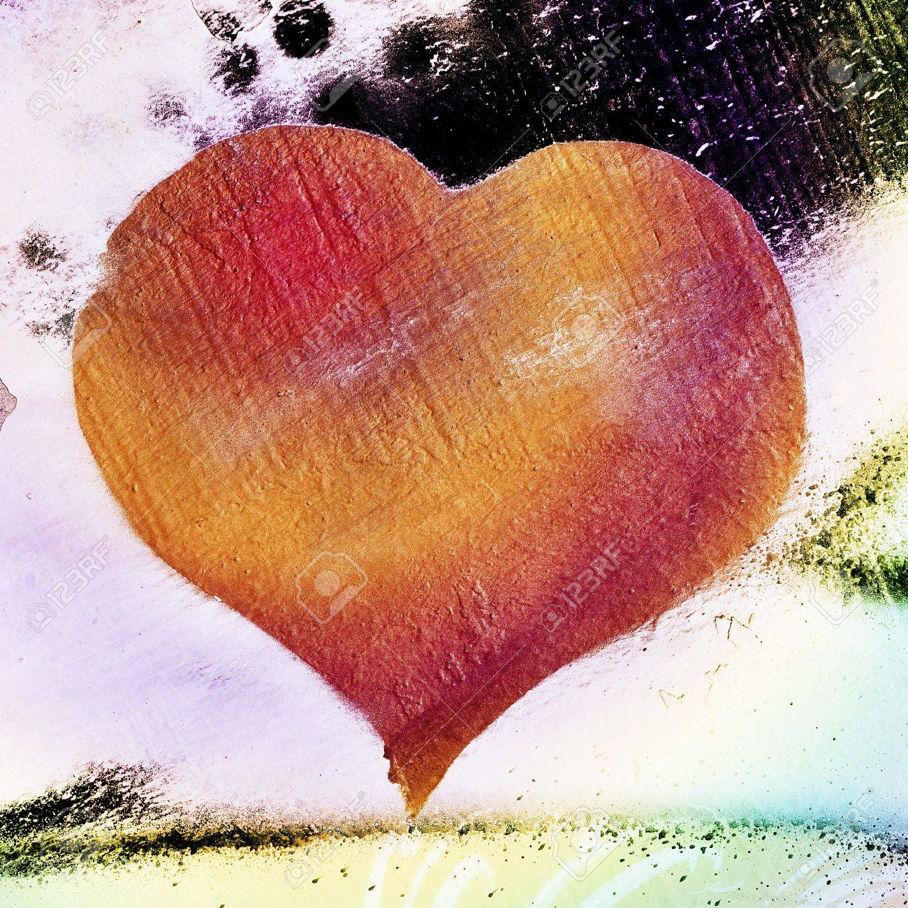 background with a heart as a graffiti in a wall Stock Photo - 11771493