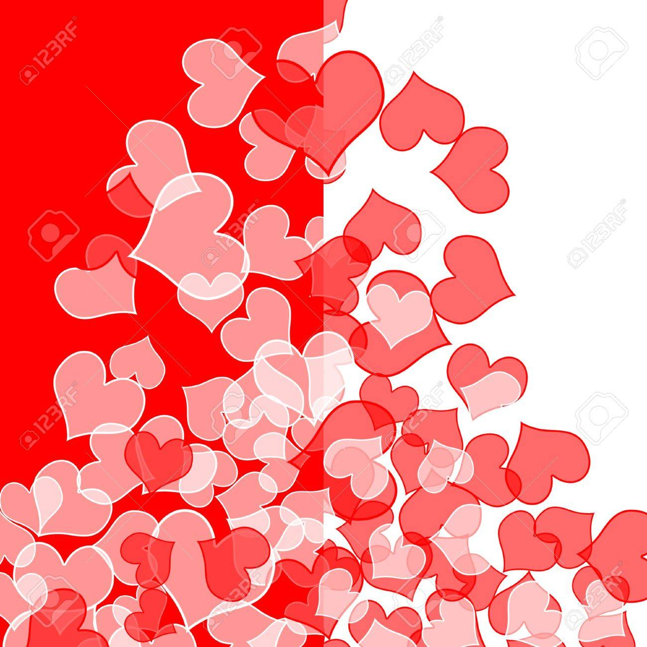 Different Shades Of Red Background With Hearts Of Different Shades Of Red Stock Photo