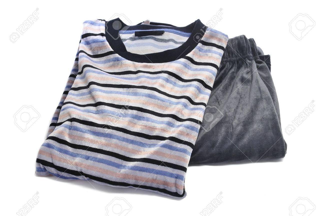 striped pajama on a white background Stock Photo - 12210949