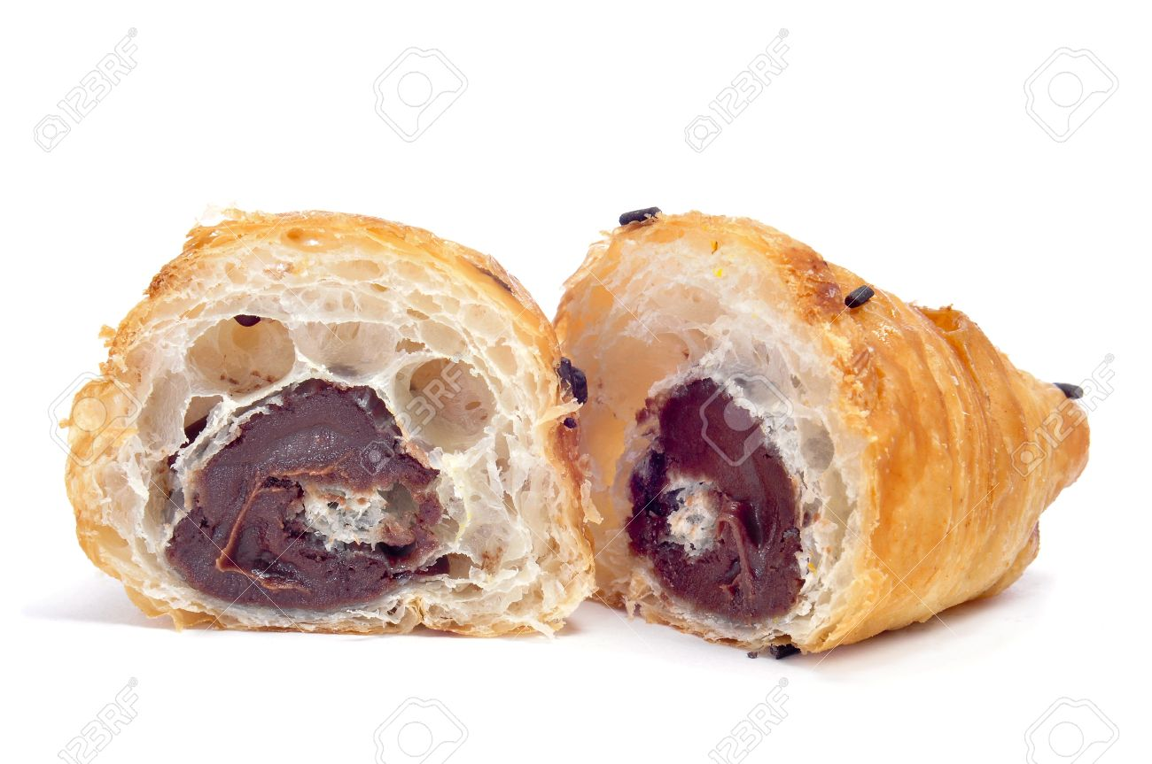 a croissant filled with chocolate on a white background Stock Photo - 12211069