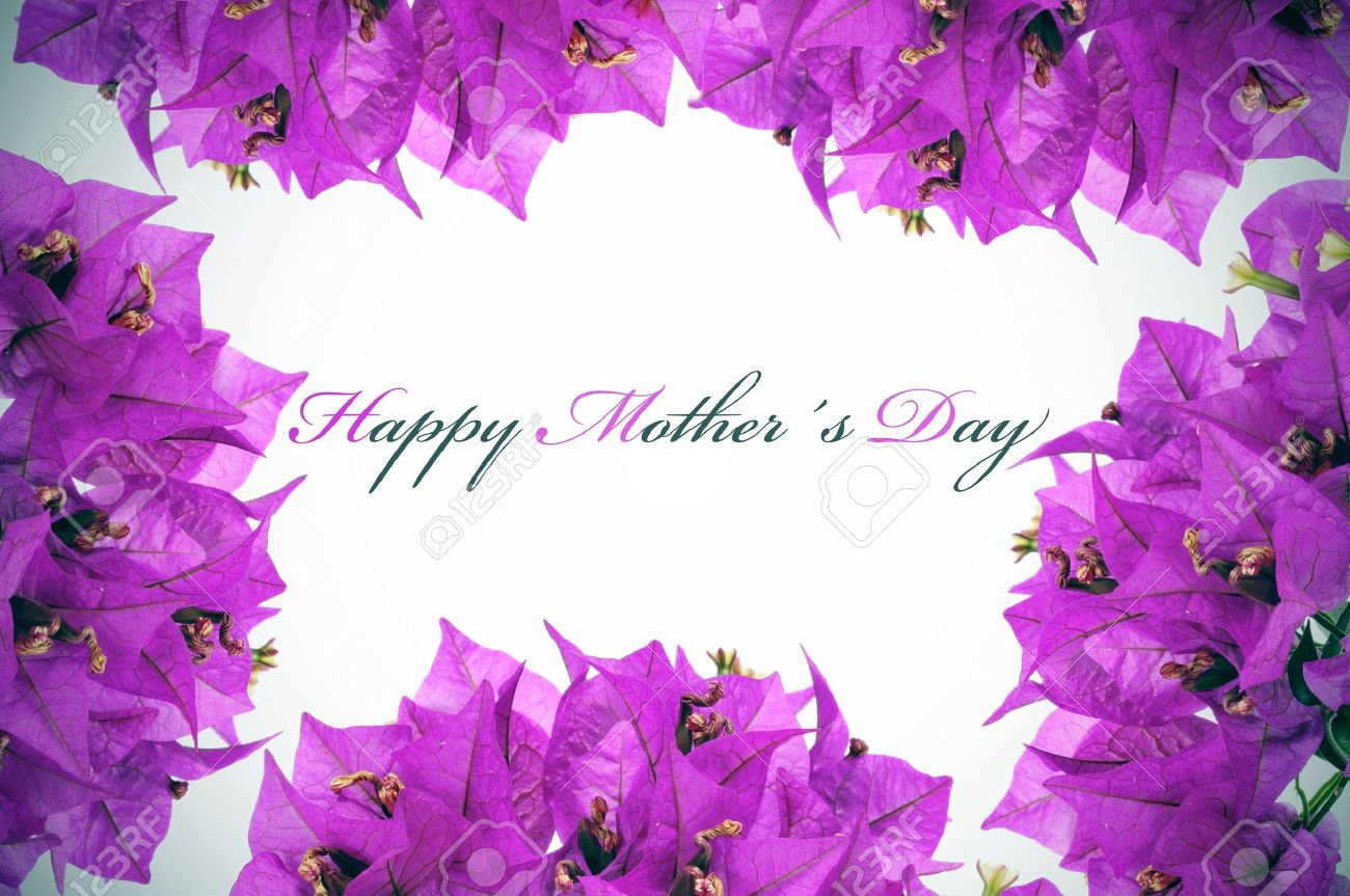 Happy Mothers Day Written On A Background With Purple Flowers Stock