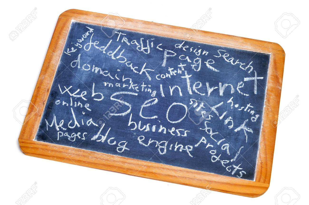 concepts about social engine optimization and internet subjects written on a blackboard Stock Photo - 13272690
