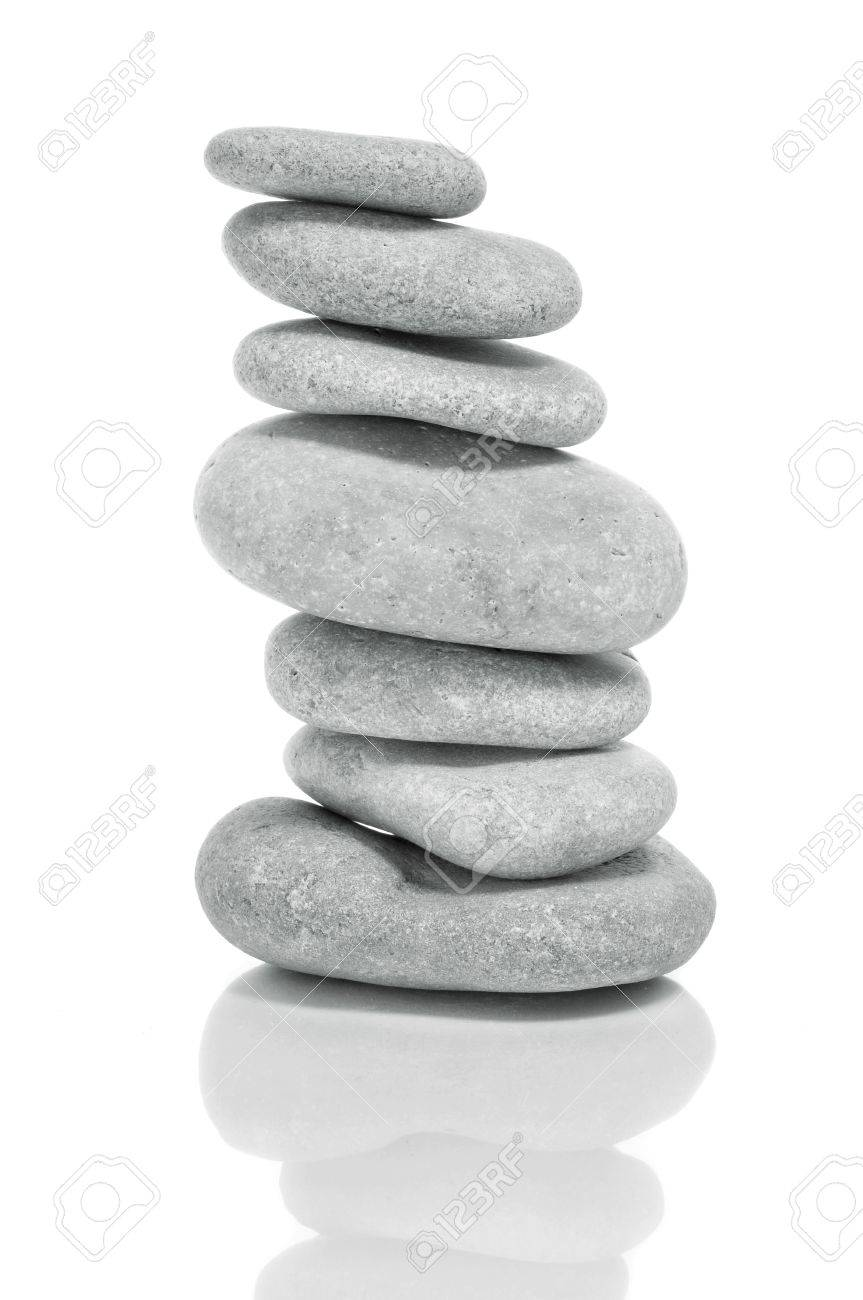 a pile of zen stones on a white background Stock Photo - 13372614