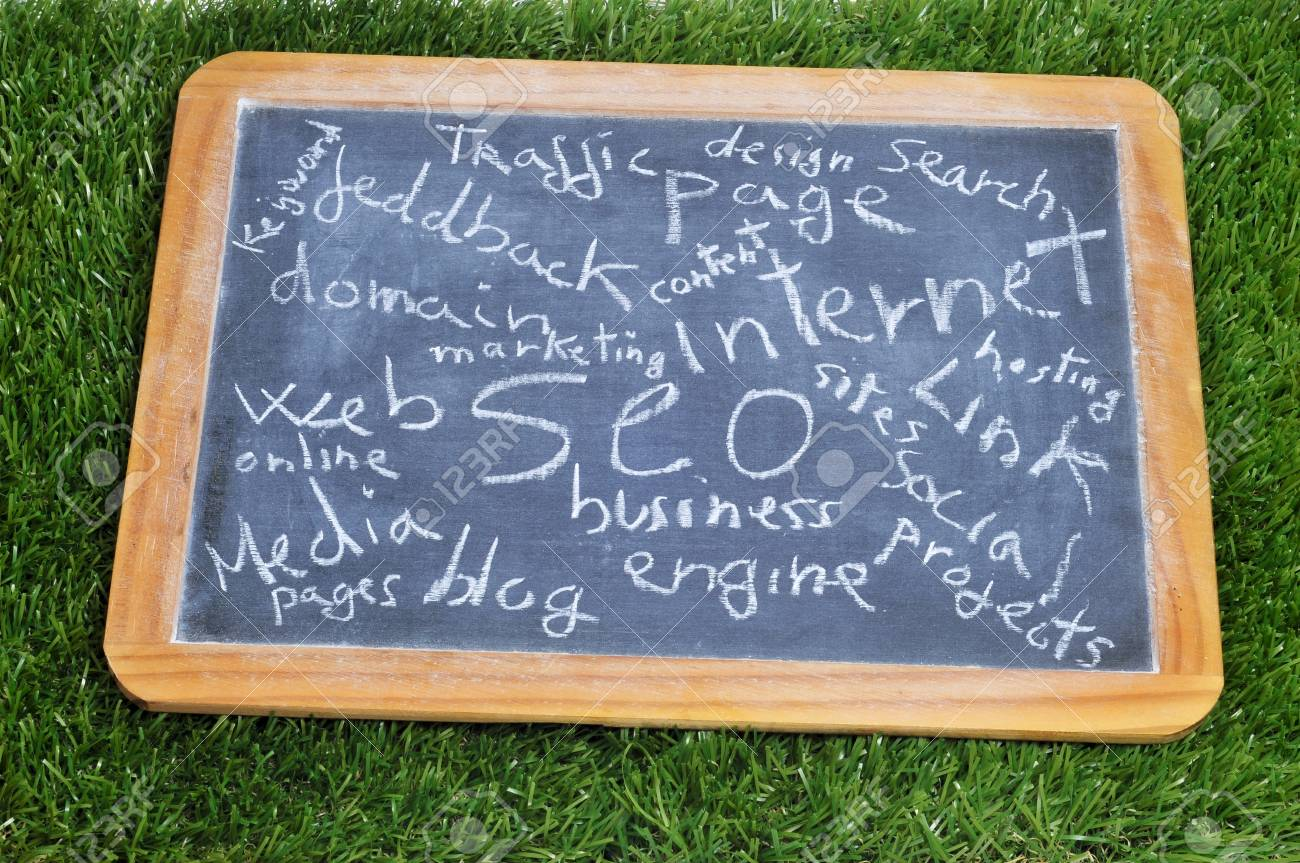 different concepts about social engine optimization and internet subjects written on a blackboard Stock Photo - 13781257