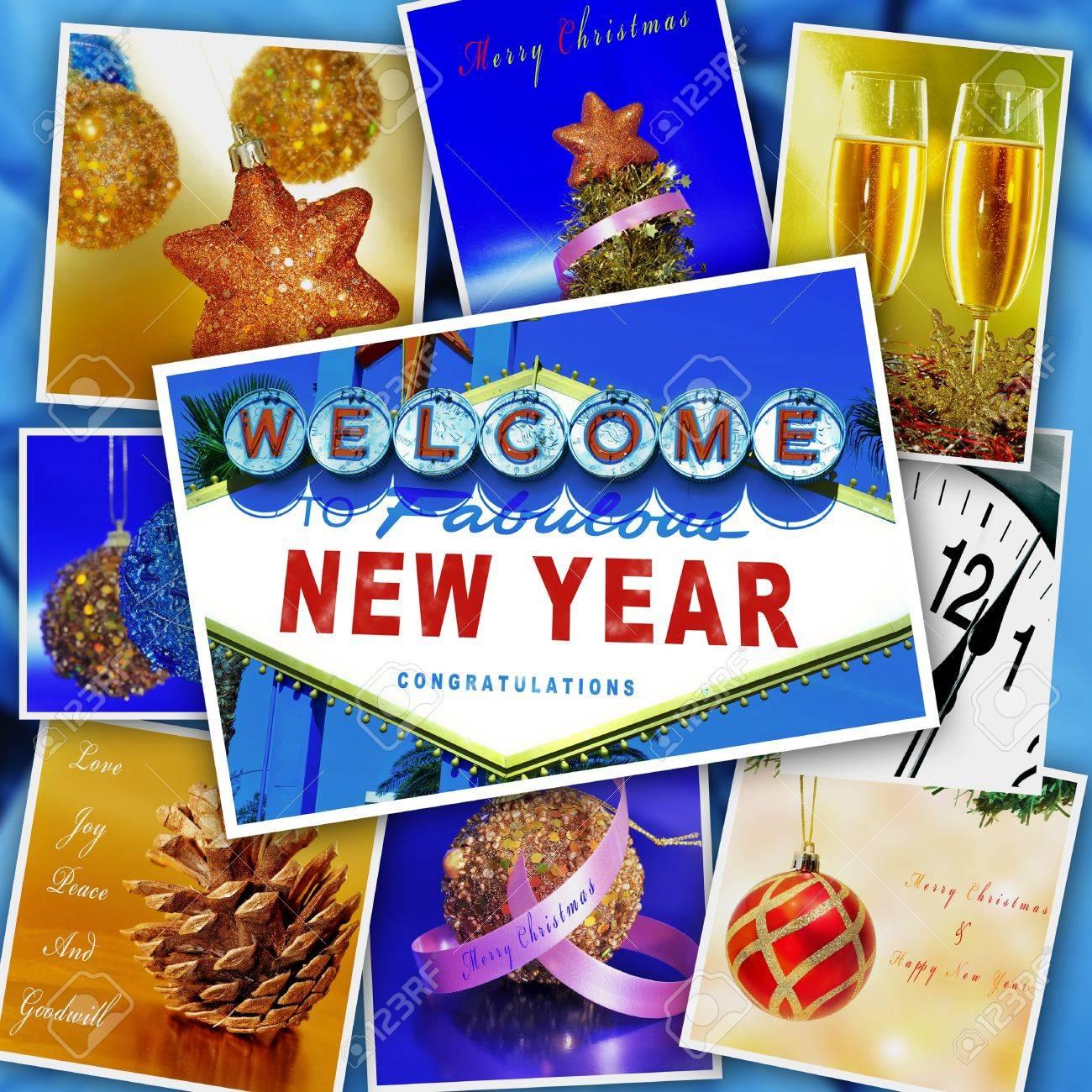 Collage Mit Einigen Bildern Und Postkarten Mit Frohe Weihnachten Und ...