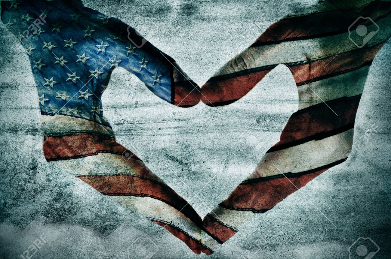 man hands painted as the american flag forming a heart Stock Photo - 14658347