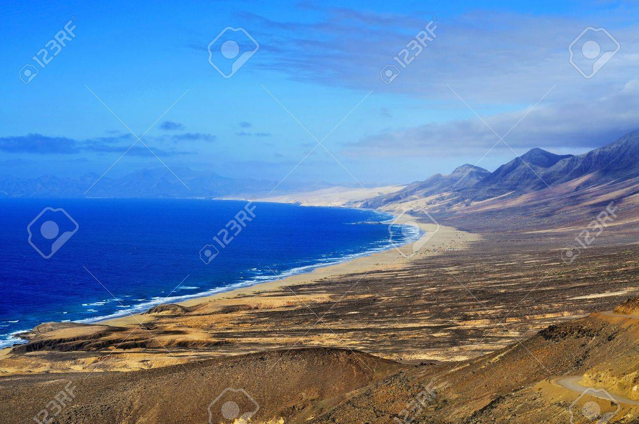 Aerial view of Cofete Beach and South-West coast of Fuerteventura, Canary Islands, Spain Stock Photo - 15567448