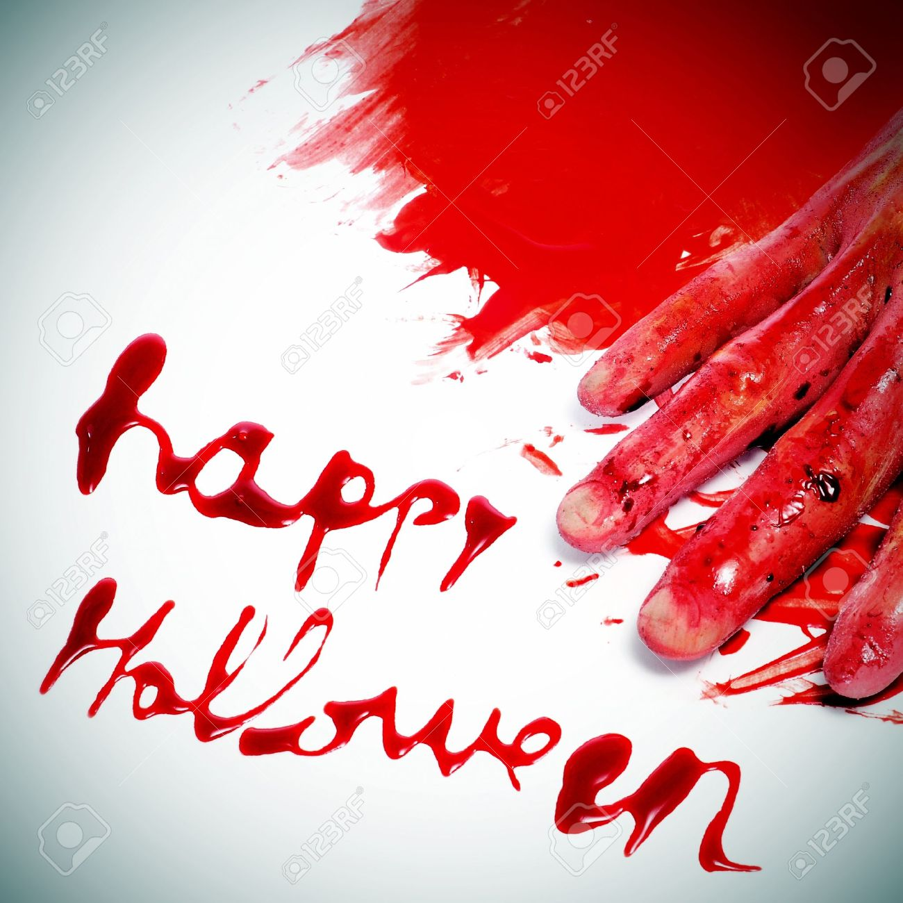 Sentence Happy Halloween Written With Blood And A Scary And Bloody ...