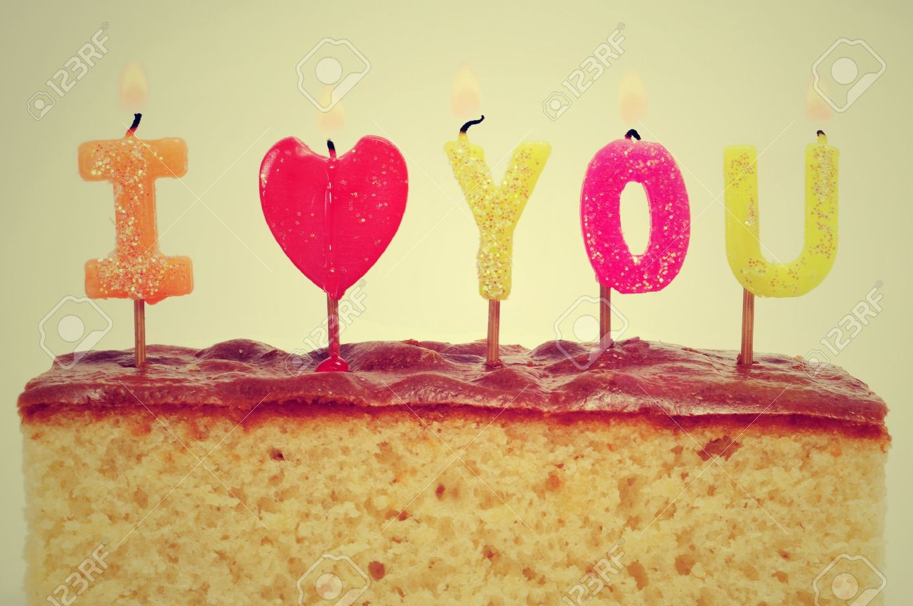 Birthday Cake Candles Forming The Sentence I Love You On A Stock Photo
