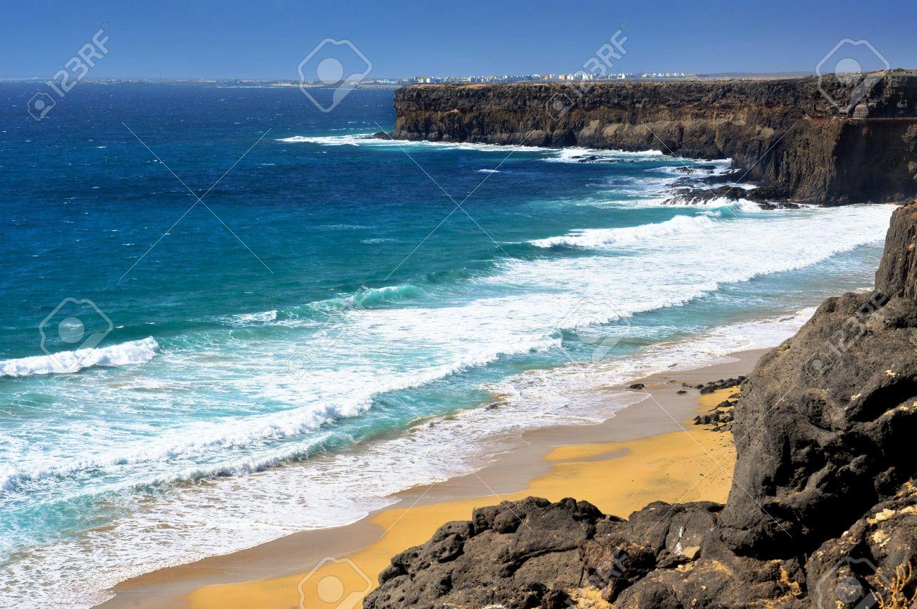 view of Aljibe de la Cueva Beach in El Cotillo, Fuerteventura, Canary Islands, Spain Stock Photo - 16069390