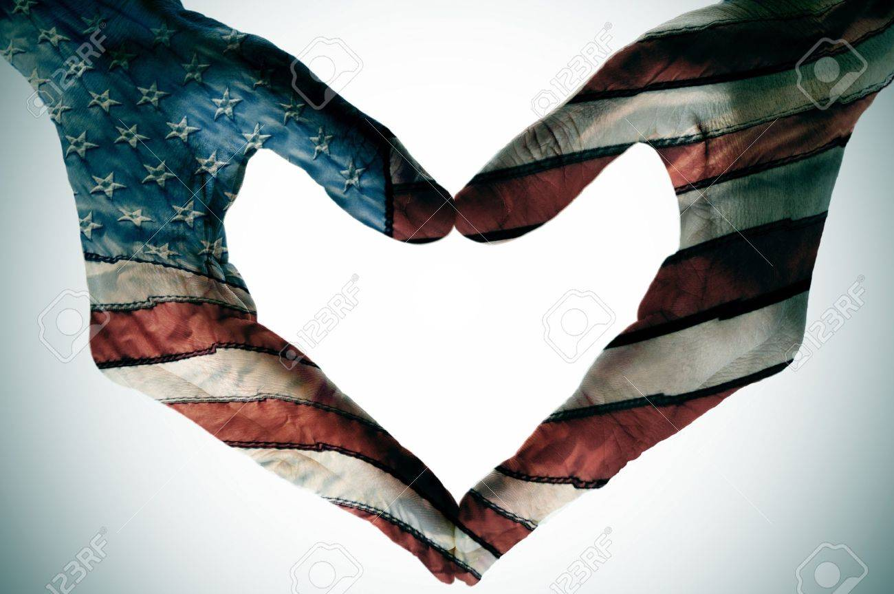 man hands painted as the american flag forming a heart Stock Photo - 16262695