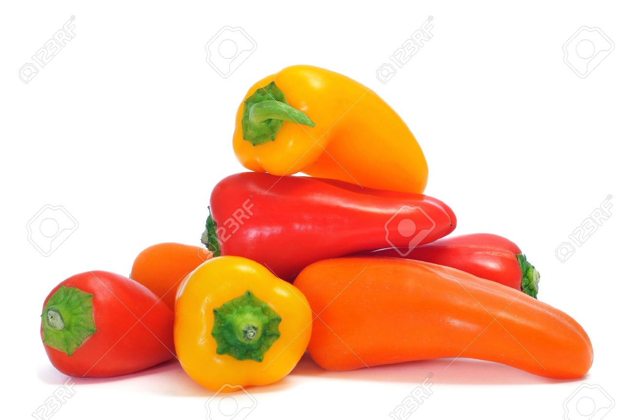 sweet bite peppers of different colors, orange, red and yellow, on a white background - 16721390