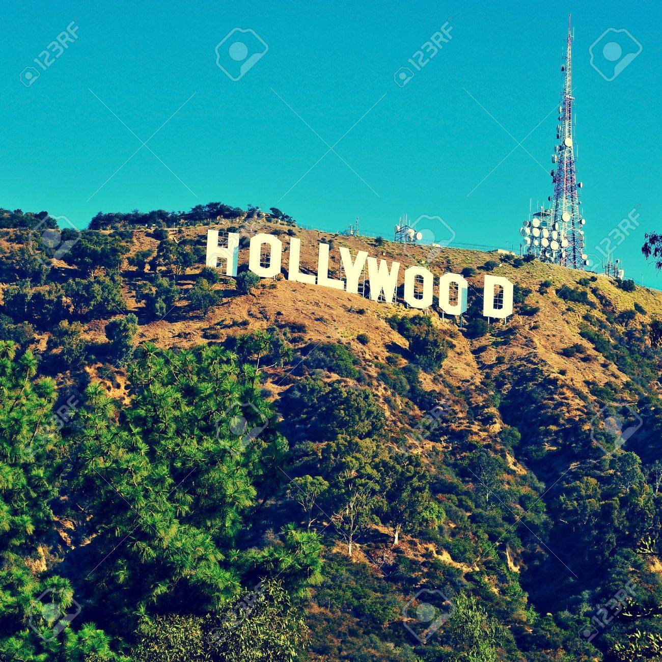 Los Angeles, US - October 17, 2011: Hollywood sign in Los Angeles. The sign, located in Mount Lee, spells out the name of the area in 45-foot-tall and 350-foot-long white letters Stock Photo - 17261456