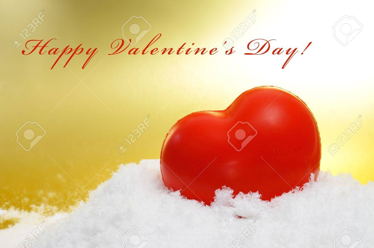 sentence happy valentines day and a red heart on the snow Stock Photo - 17248442