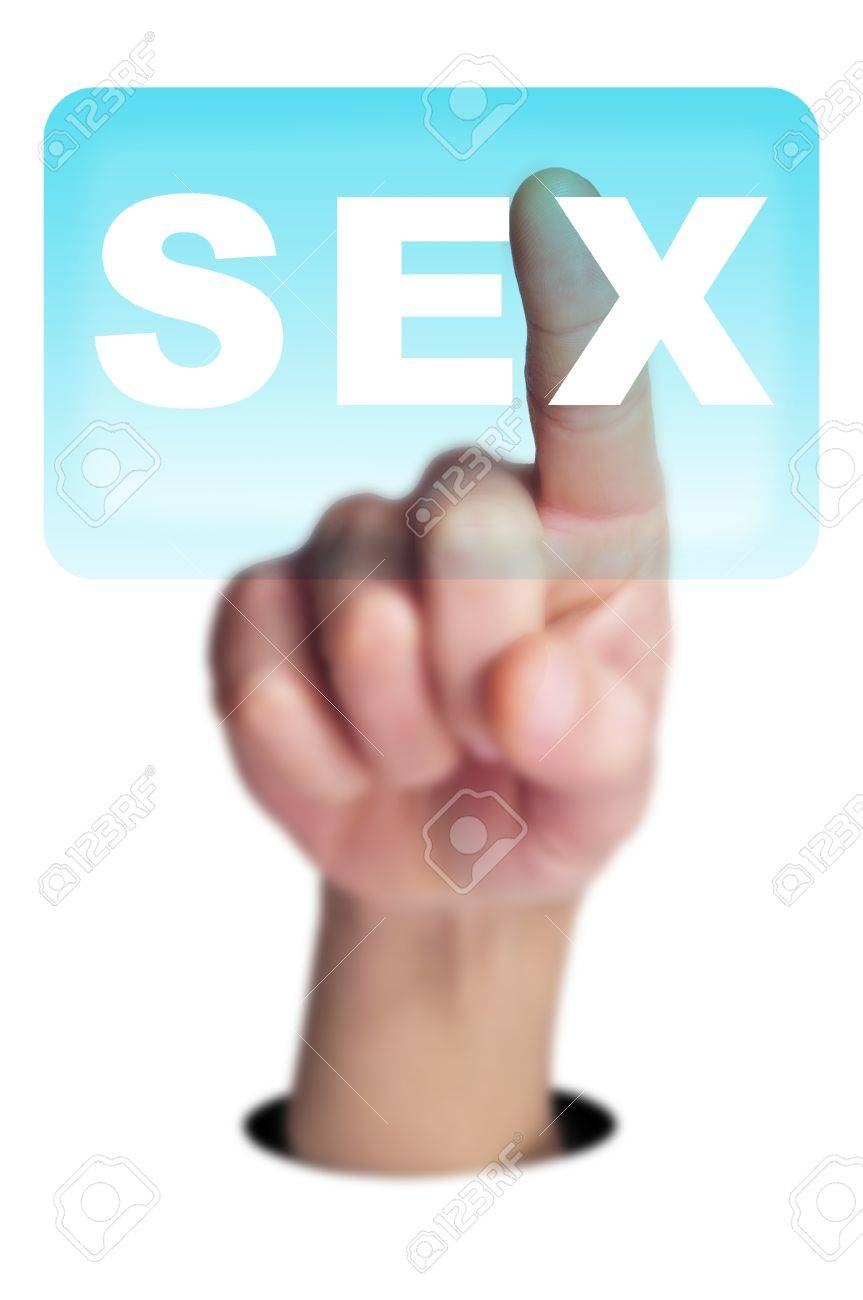 man finger clicking on a button with the word SEX written in it on a transparent screen Stock Photo - 18027796