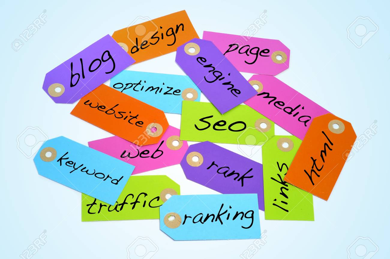 paper labels of different colors with different words about the search engine optimization and internet concepts Stock Photo - 18439157
