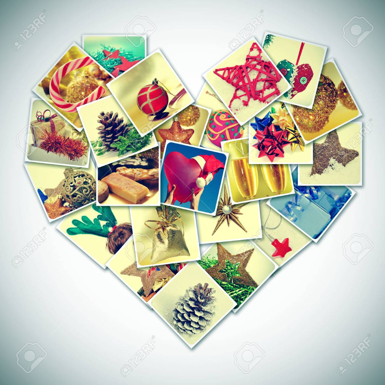 a collage of different pictures of christmas items forming a heart, with a  retro effect
