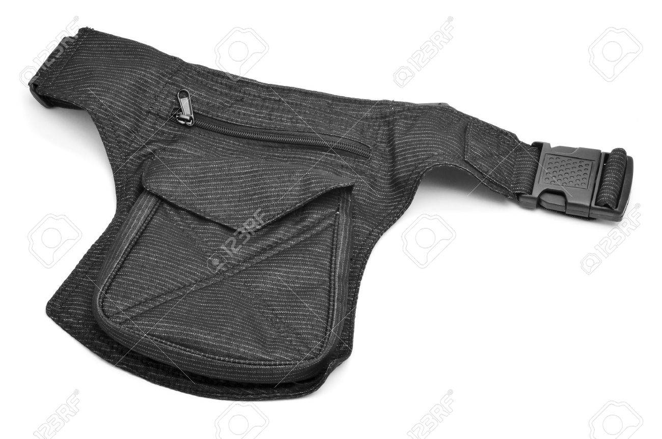 a denim hip bag with different pockets on a white background - 23125883