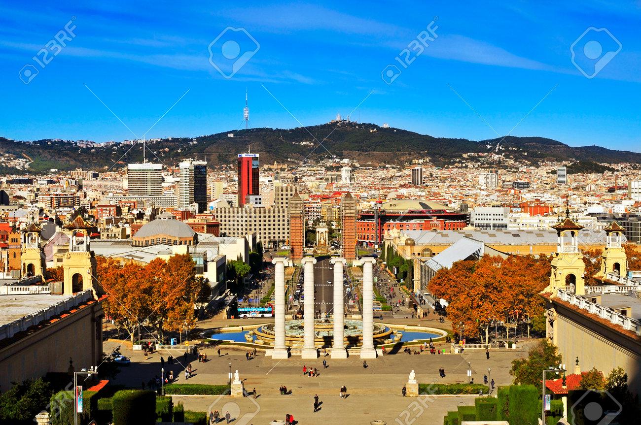 Barcelona Spain December 1 2013 Aerial View Of Barcelona
