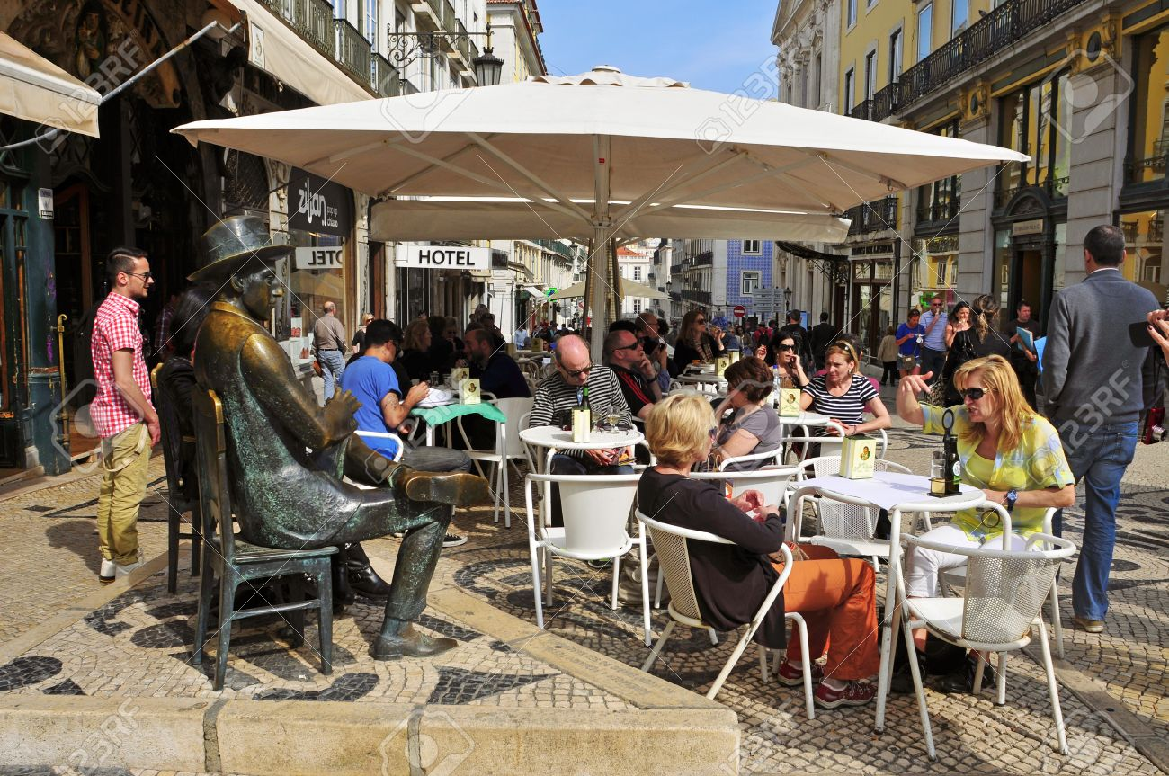 Crowded restaurant table - Lisbon Portugal March 17 The Crowded Terrace Of Cafe A Brasileira With The