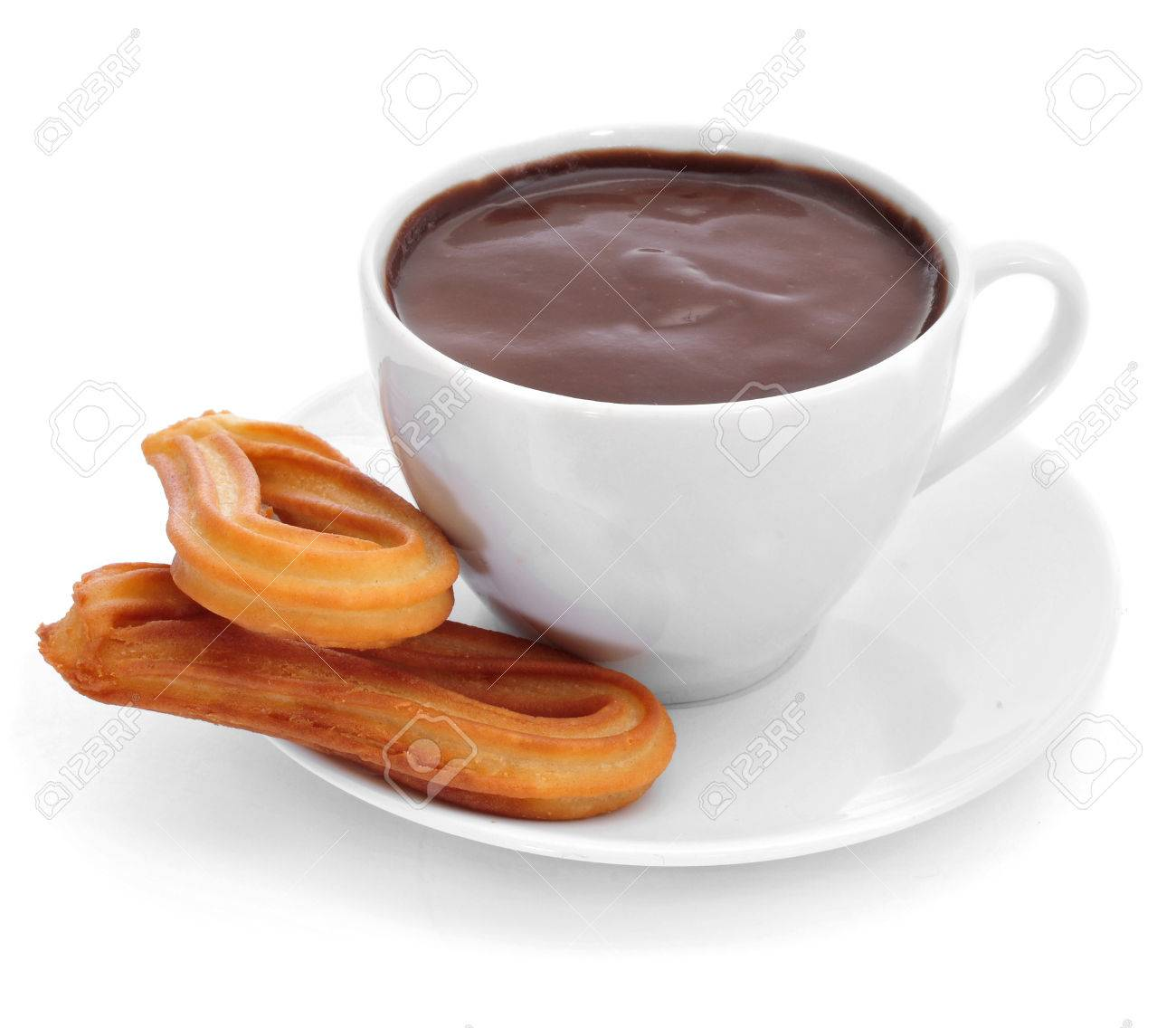 Churros Con Chocolate, A Typical Spanish Sweet Snack, On A White ...