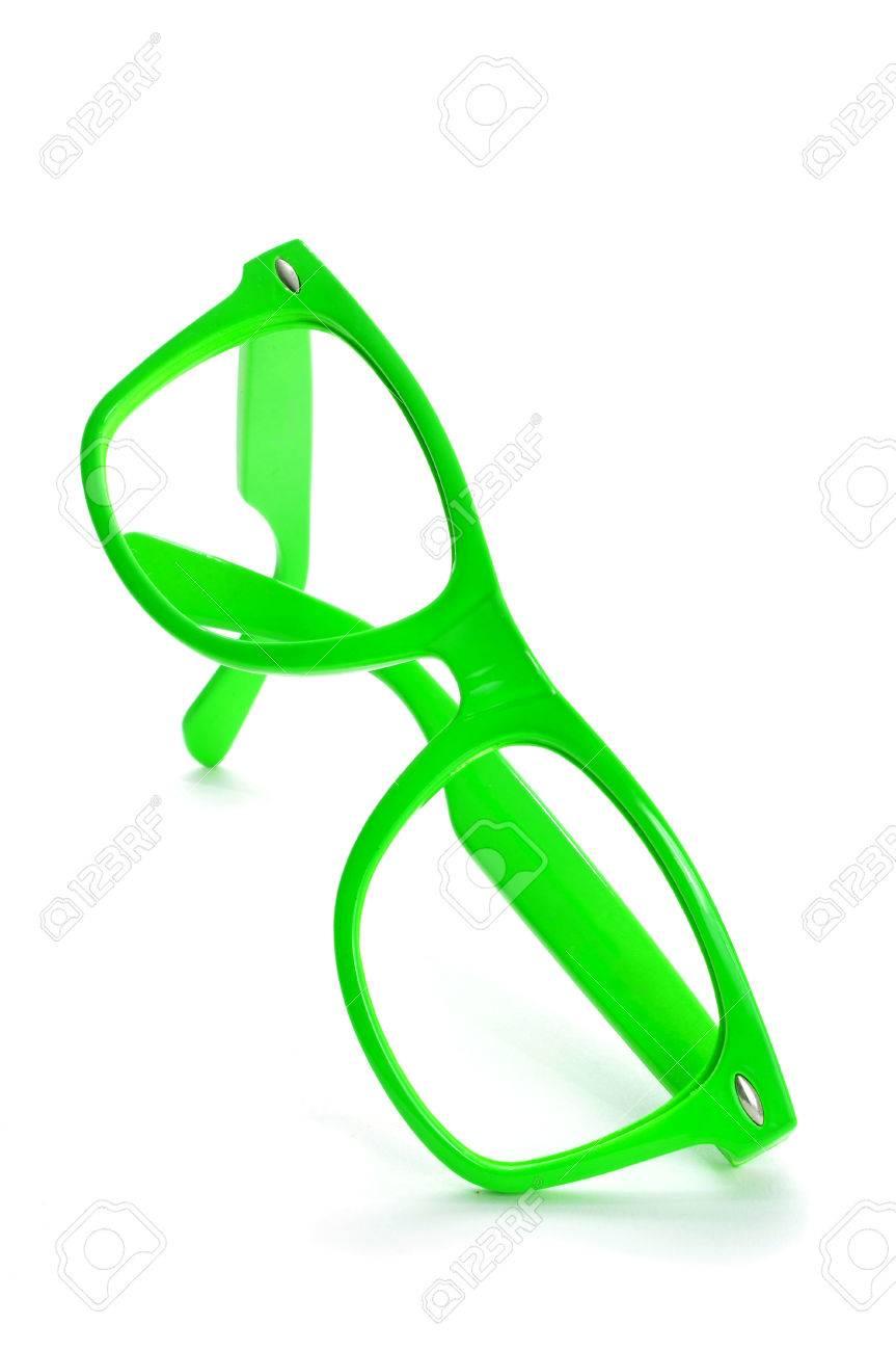 Hell Grün Kunststoff Umrandeten Brille Auf Weißem Hintergrund ...