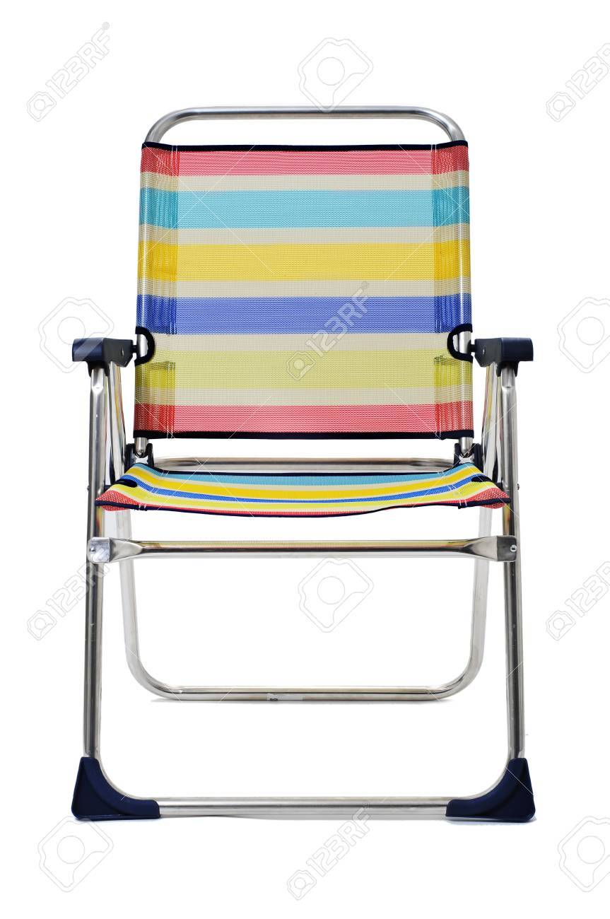 A Foldable Beach Chair With Stripes Of Different Colors On A