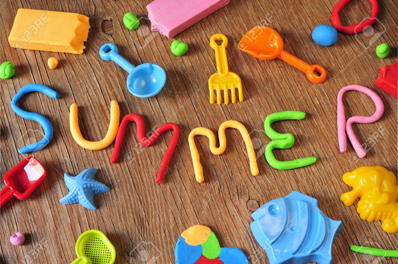 The Word Summer Made From Modelling Clay Of Different Colors Stock