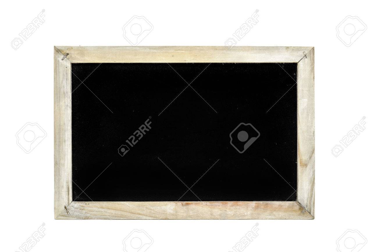 A Blank Blackboard With A Rustic Wooden Frame On A White Background ...