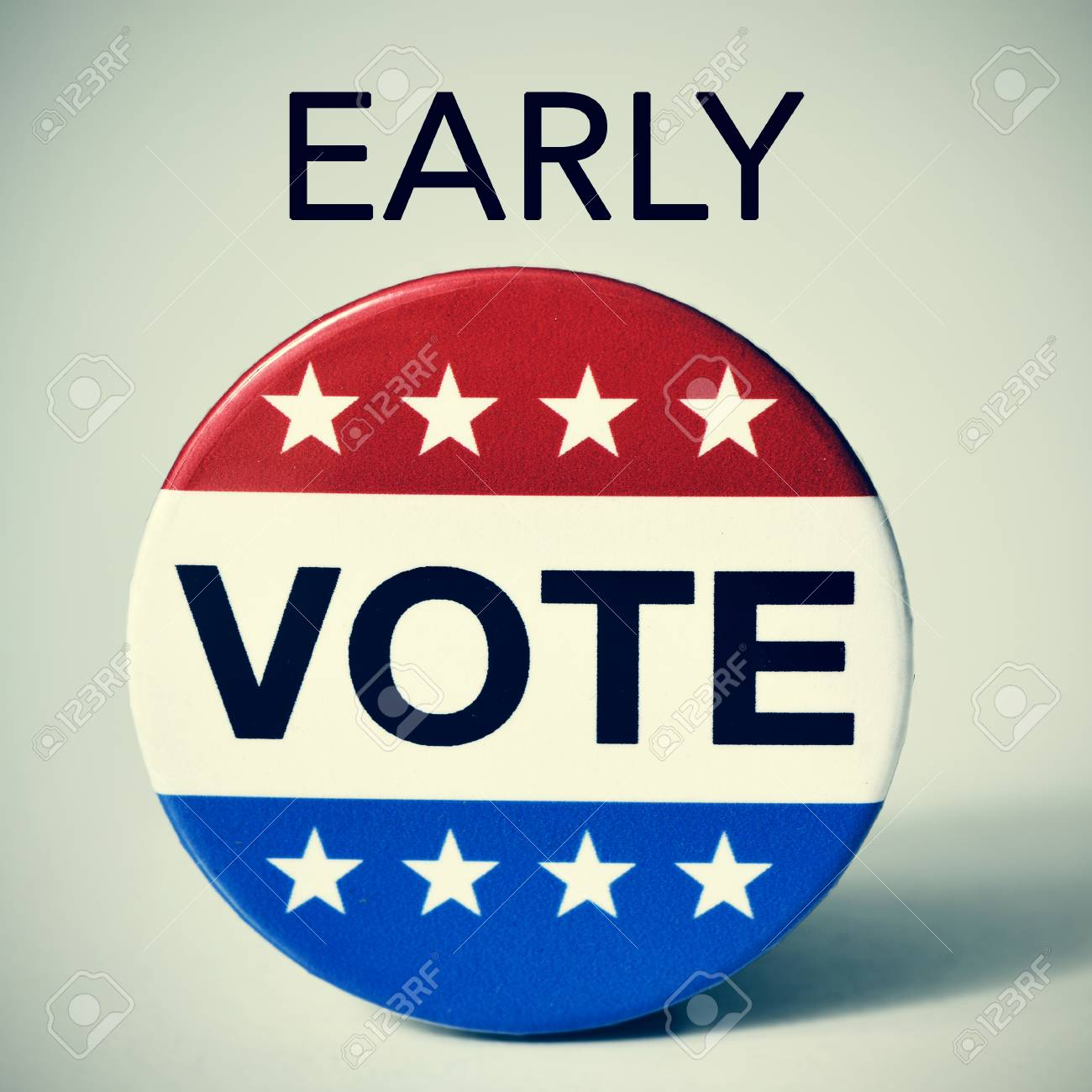 closeup of a badge with the word vote written in it, and the word early, for the early vote in the United States election, with a slight vignette added - 65455979
