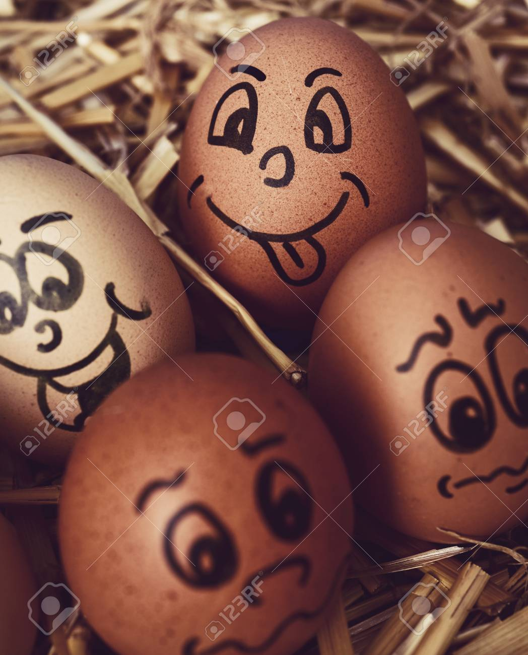 Closeup Of Some Brown Different Eggs With Funny Faces On A Pile Straw Stock Photo