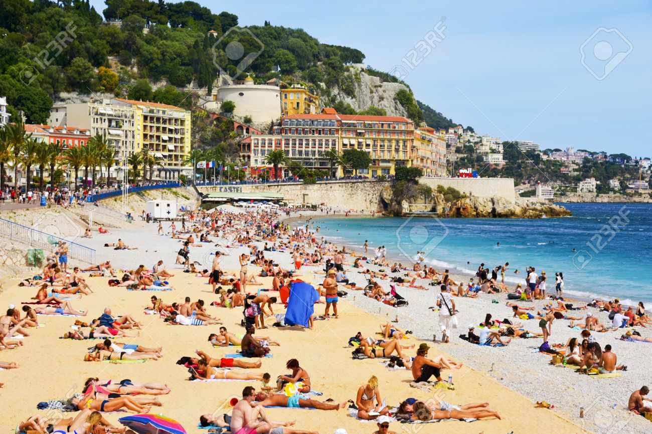nice france june 4 2017 people sunbathing on the beach in