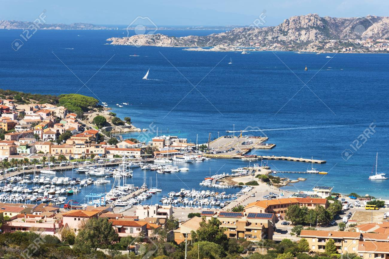 A panoramic view over Palau, in Sardinia, Italy, with its marina in the foreground - 111282380