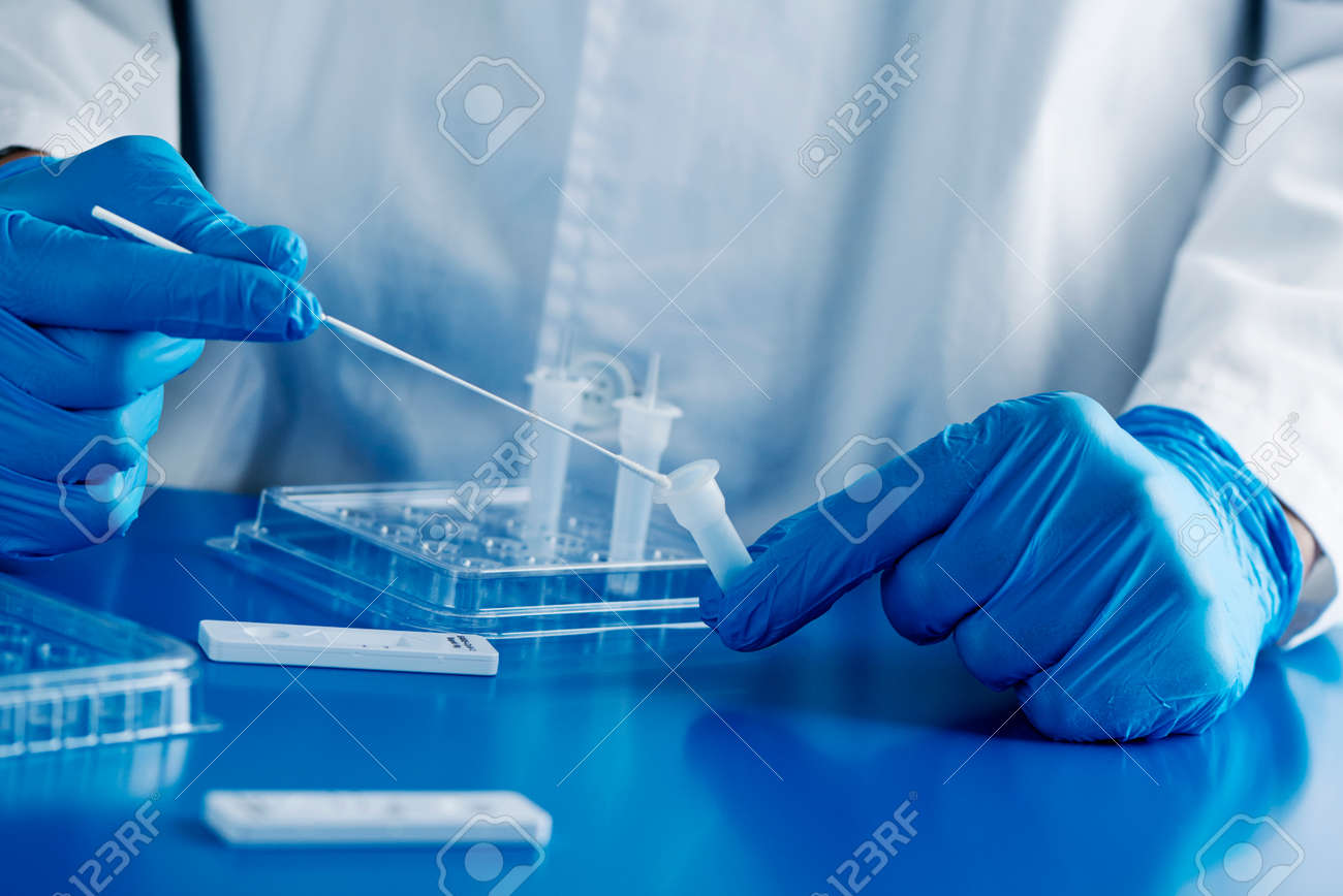 closeup of a healthcare worker, wearing blue surgical gloves, put the sample of a nasopharyngeal swab in contact with the reactant, before to insert it into the covid-19 antigen diagnostic test device - 162939263