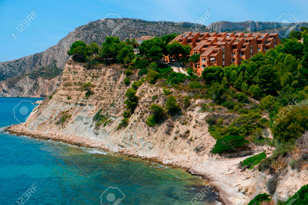 a panoramic view over the Cala La Manzanera beach in Calpe, in the Valencian Community, Spain - 173404663