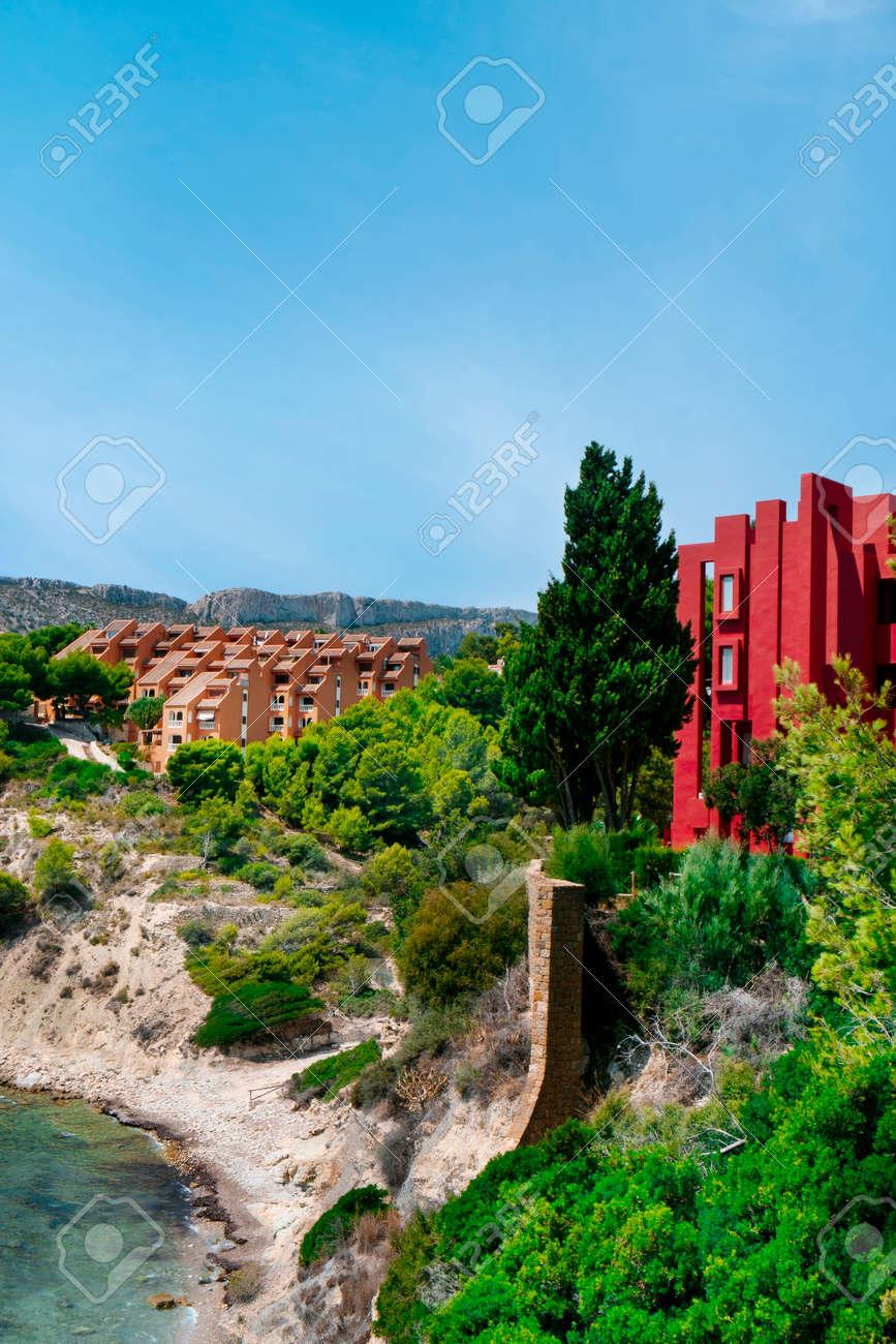 a view over the Cala La Manzanera beach in Calpe, in the Valencian Community, Spain - 173403307