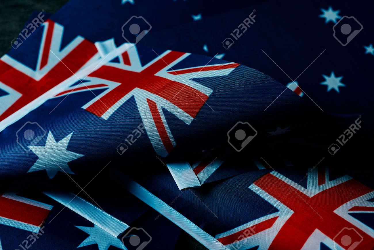 closeup of some australian flags - 173465228
