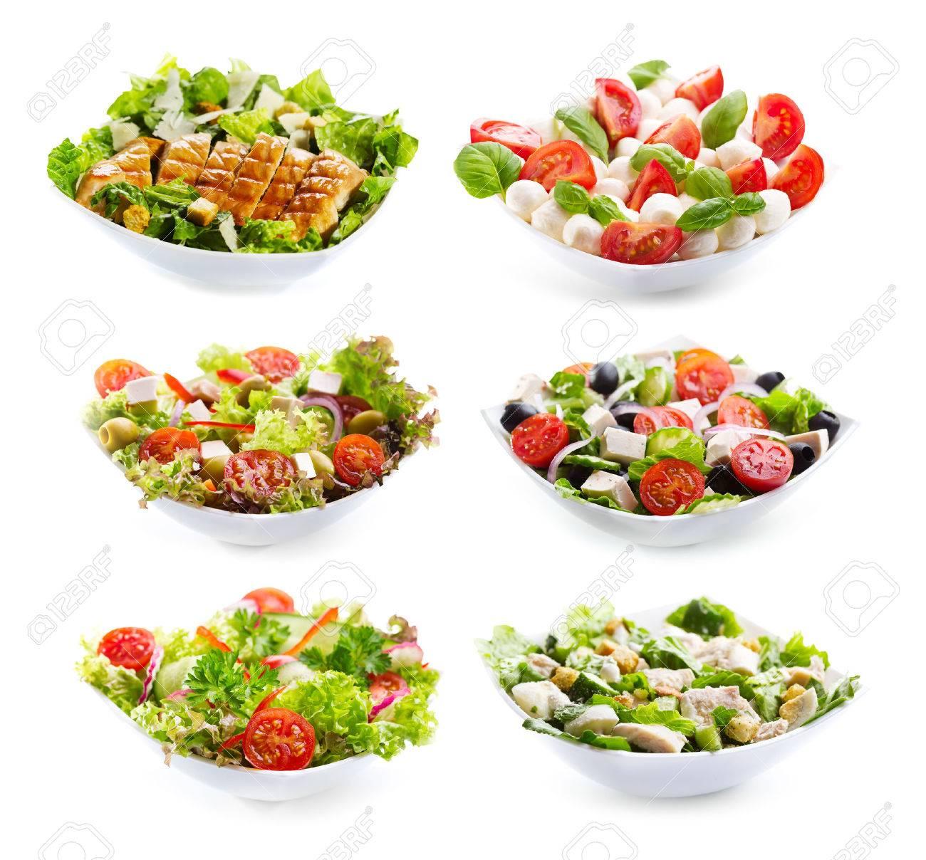 set of varioust salads on white background - 29200537
