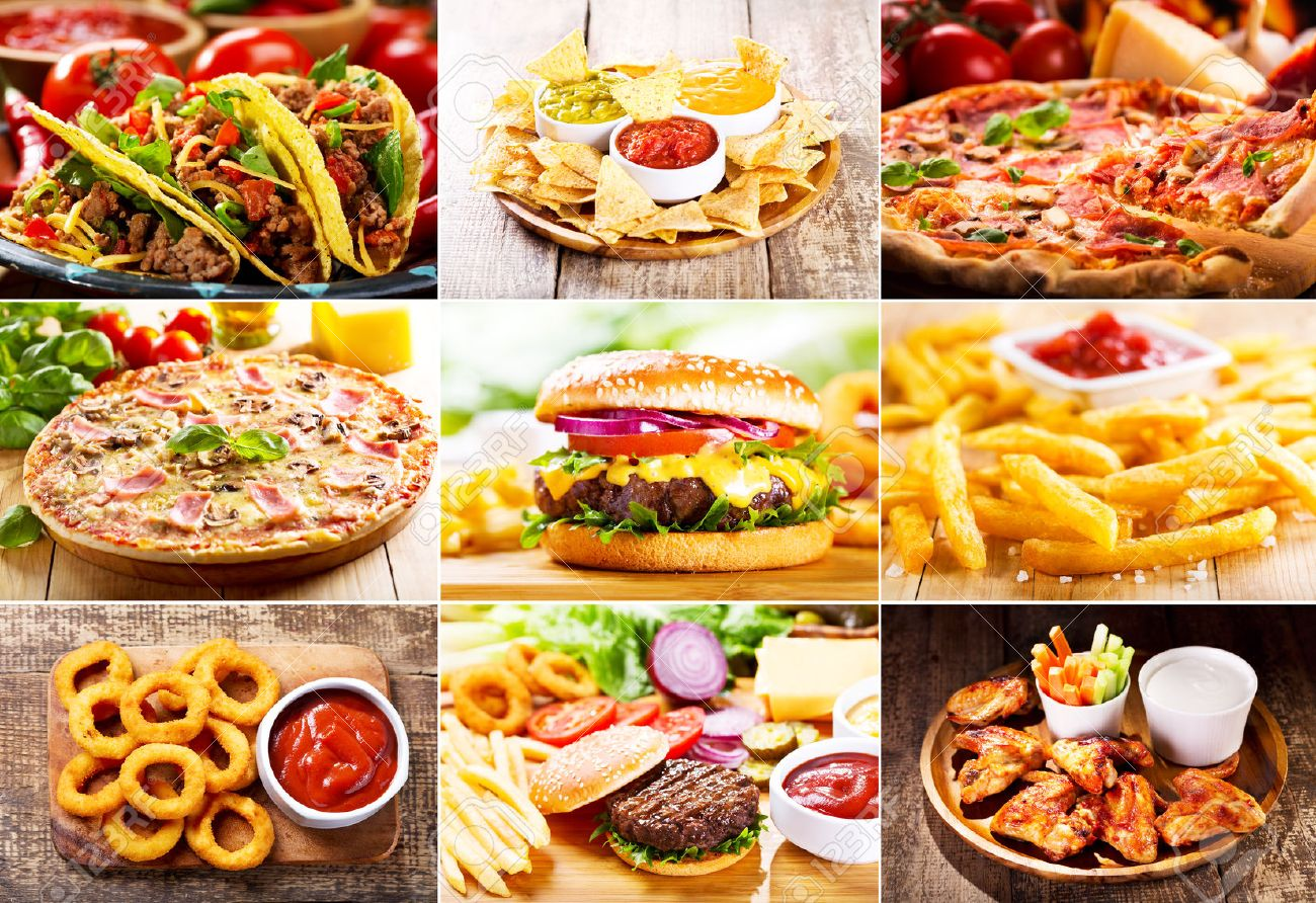 Collage Of Various Fast Food Products Stock Photo Picture And